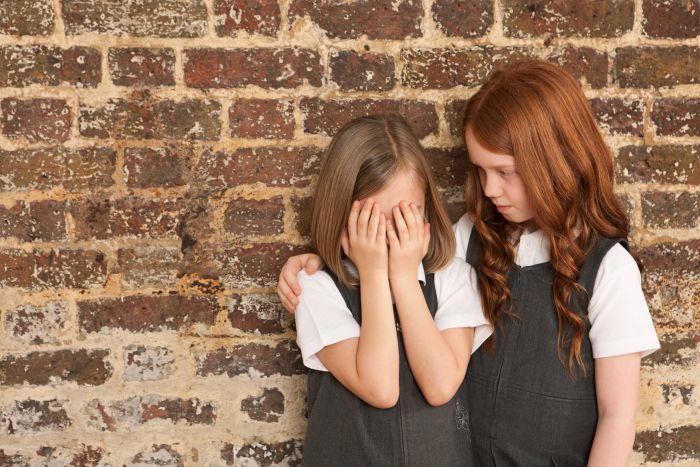 Девочка сочувствует своей плачущей подруге